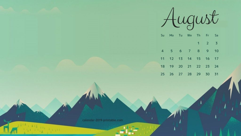 Cute August Calendar 2019 Wallpaper in Floral Design Printable 1024x576