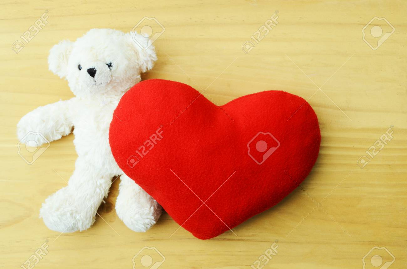 Valentines Day Teddy Bear Loving Cute With Red Heart Pillow 1300x861