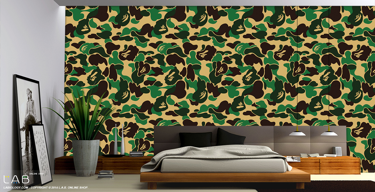 Bape Green Camo Wallpaper for Room Decoration   USD3900 LAB L 1305x668