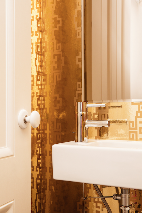 Metallic Gold Greek Key Wallpaper   Contemporary   Bathroom   Ensemble 494x740