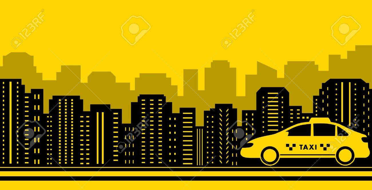 Taxi City Background With Black Town And Yellow Cab Royalty 1300x667
