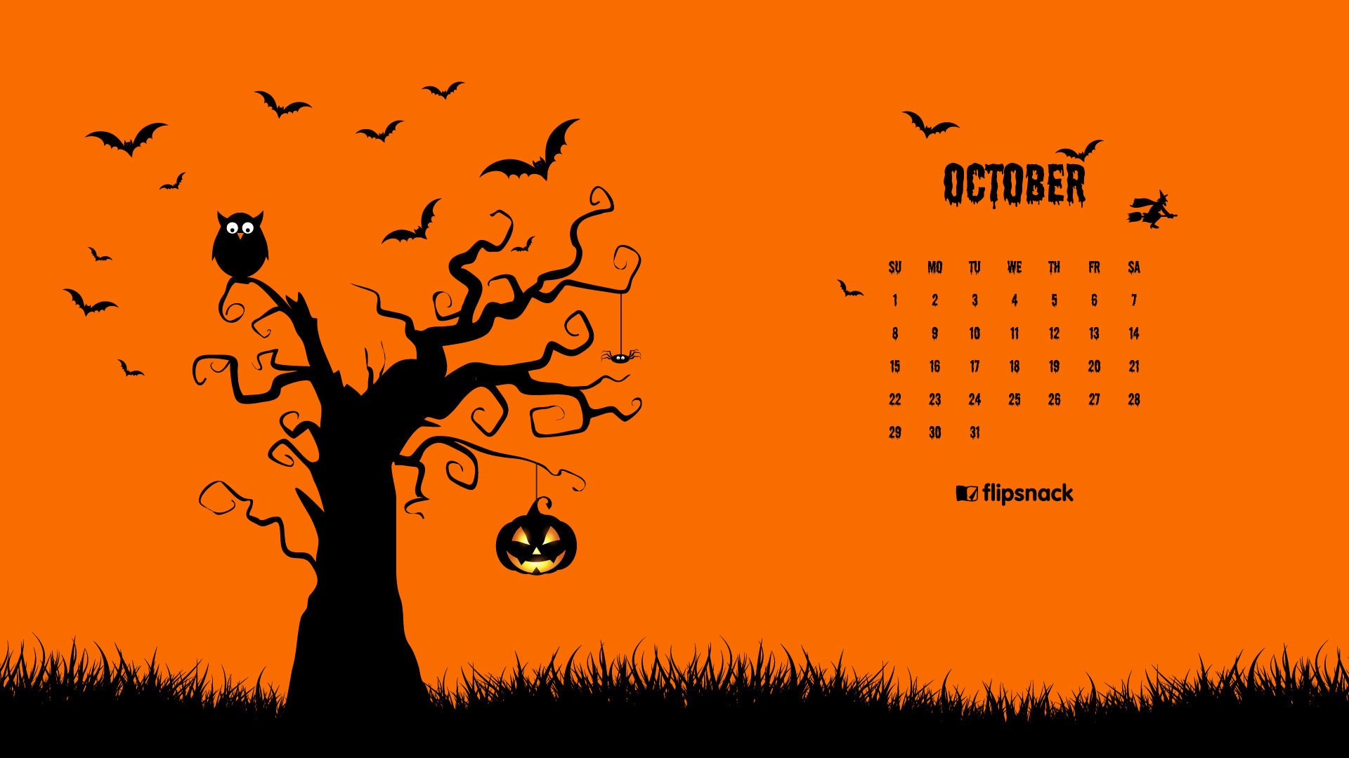 October 2017 calendar wallpaper for desktop background 1920x1080