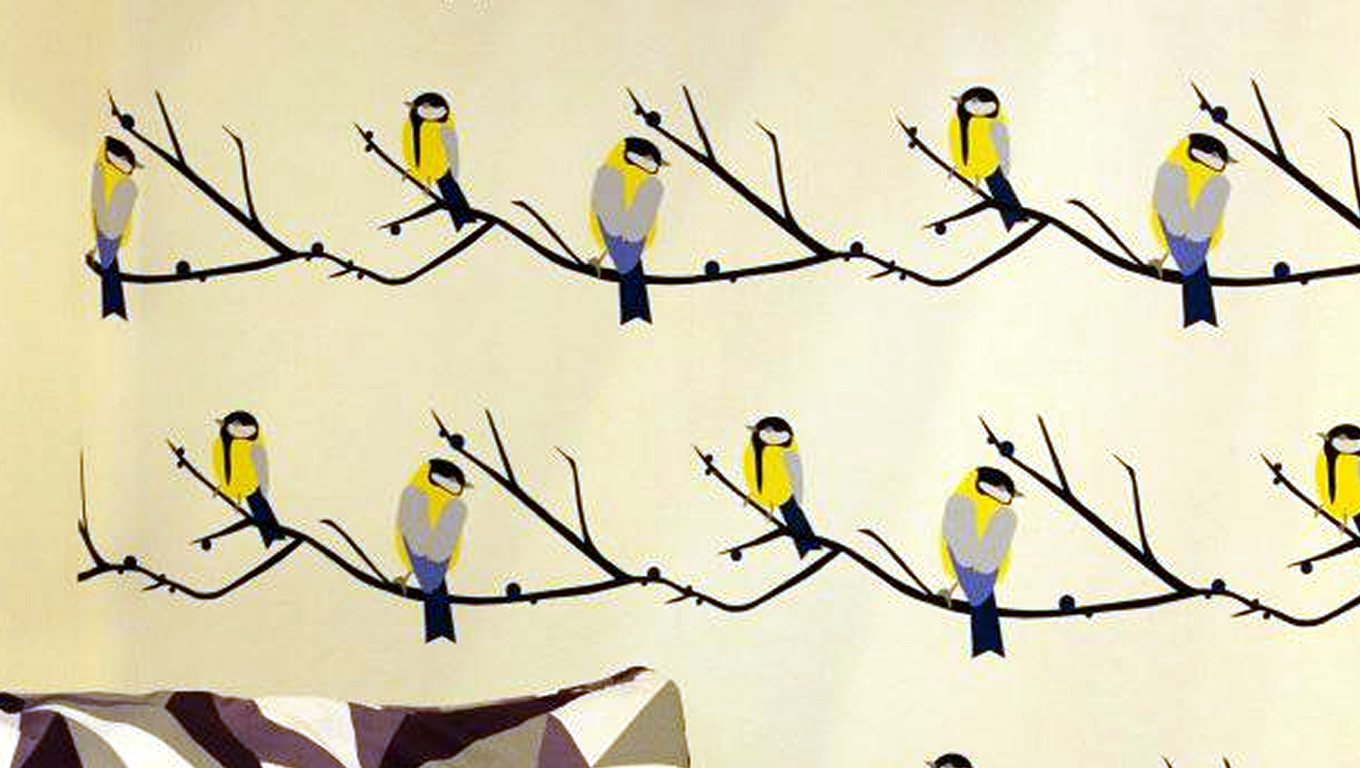 Bird Wallpaper Design by Lorna Syson at 100 Percent Design London UK 1360x768