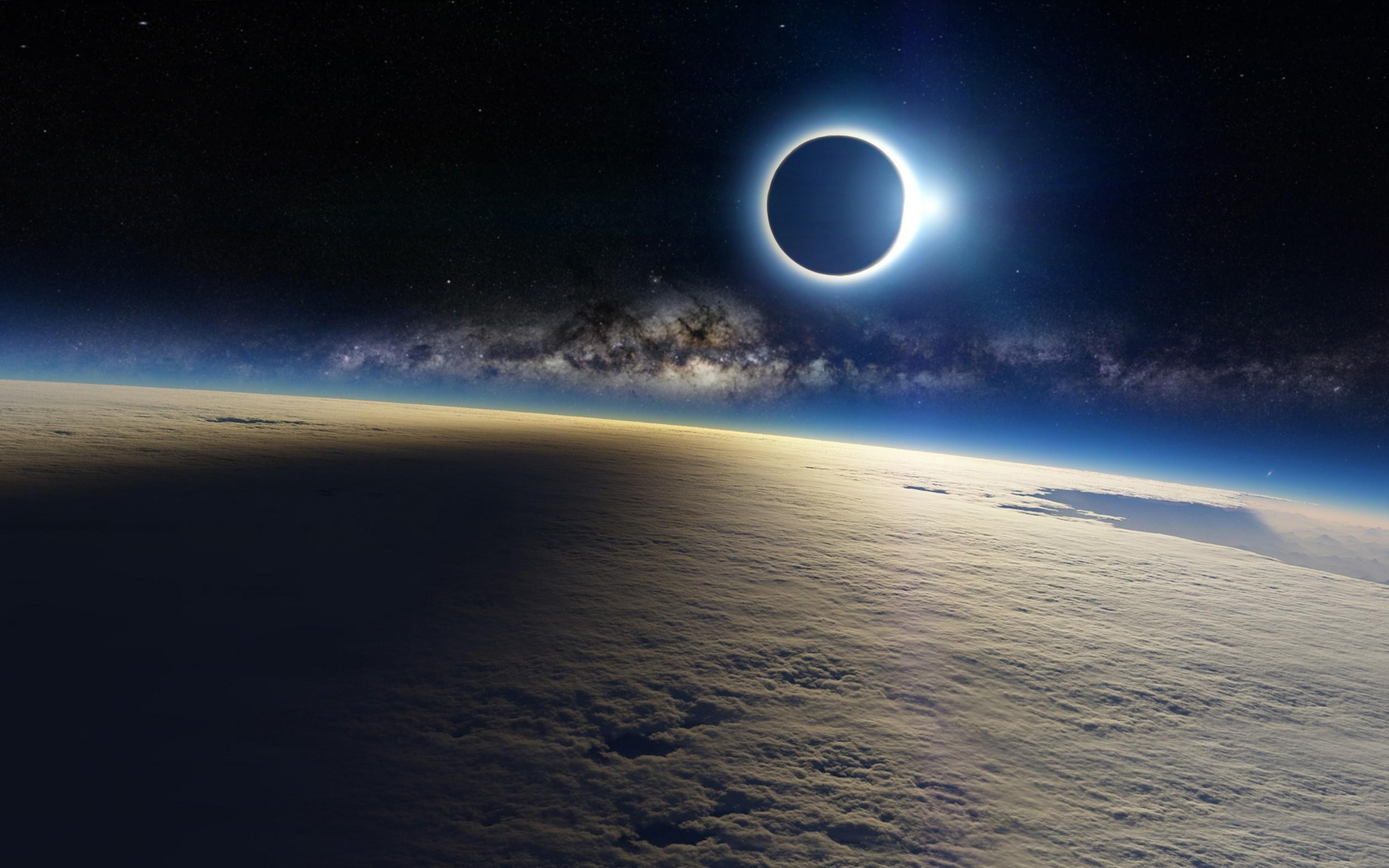 HD Solar Eclipse Moon Shadow On Earth Cloud Wallpaper WallpapersByte 3840x2400