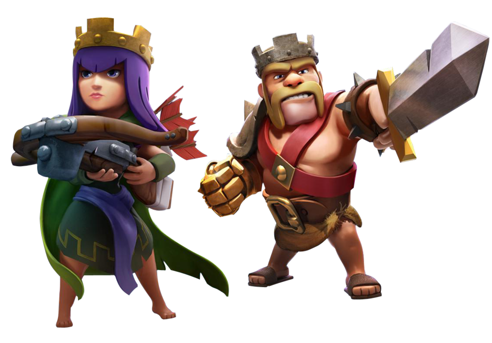 Barbarian King and Archer Queen Clash of Clans Wallpaper 965x673