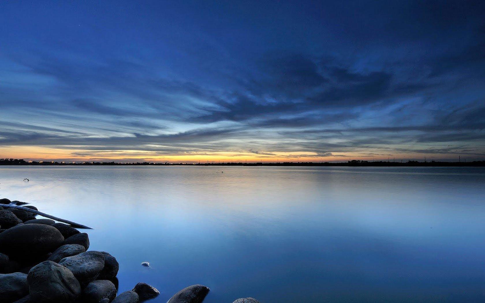 Blue calm sea Wallpaper Desktop Background Scenery Wallpapers High 1680x1050