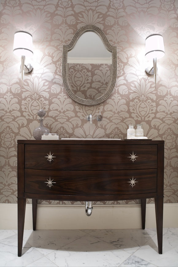 in this powder room gives just the right amount of both color and fun 580x870
