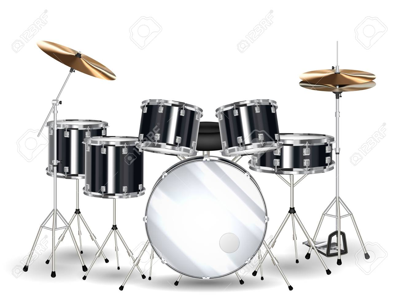 Real Black Drum Set On A White Background Royalty Cliparts 1300x1003