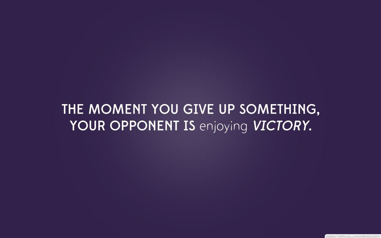 Purple Victory Sentence Never Give Up
