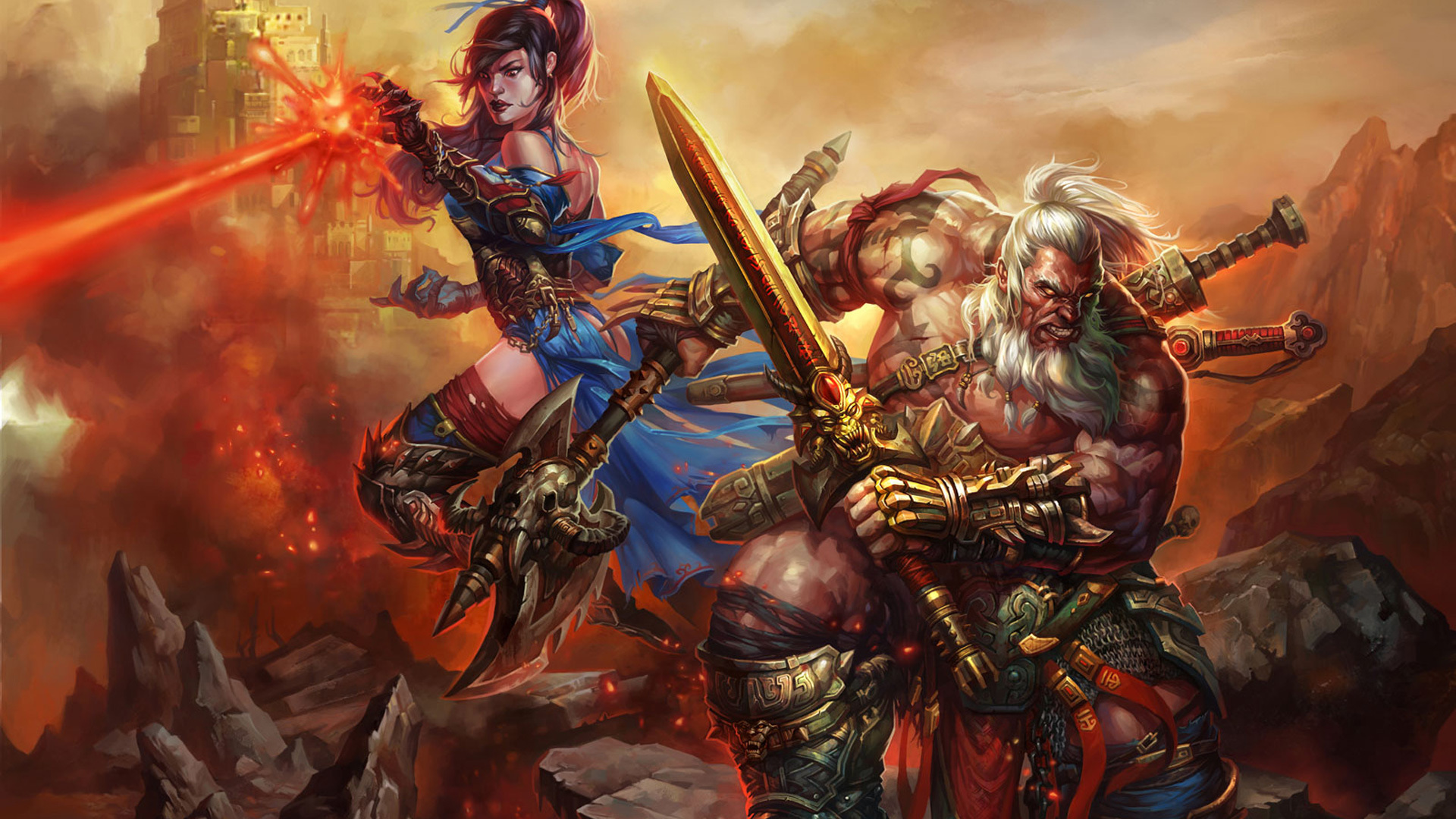 Diablo III barbarian and mage wallpapers and images   wallpapers 1920x1080