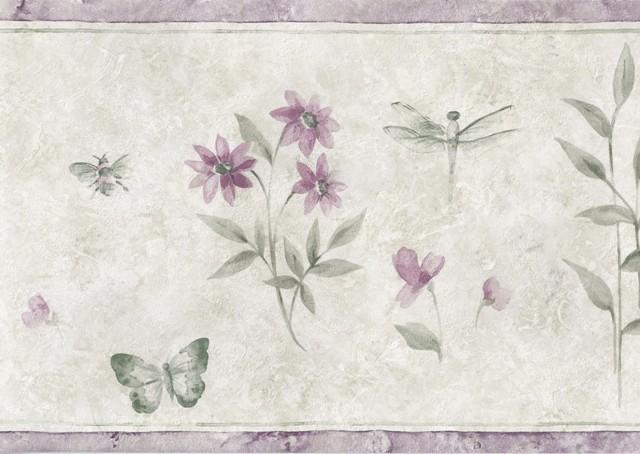 Purple Green Bugs Floral Wallpaper Border   Garden Floral 640x454