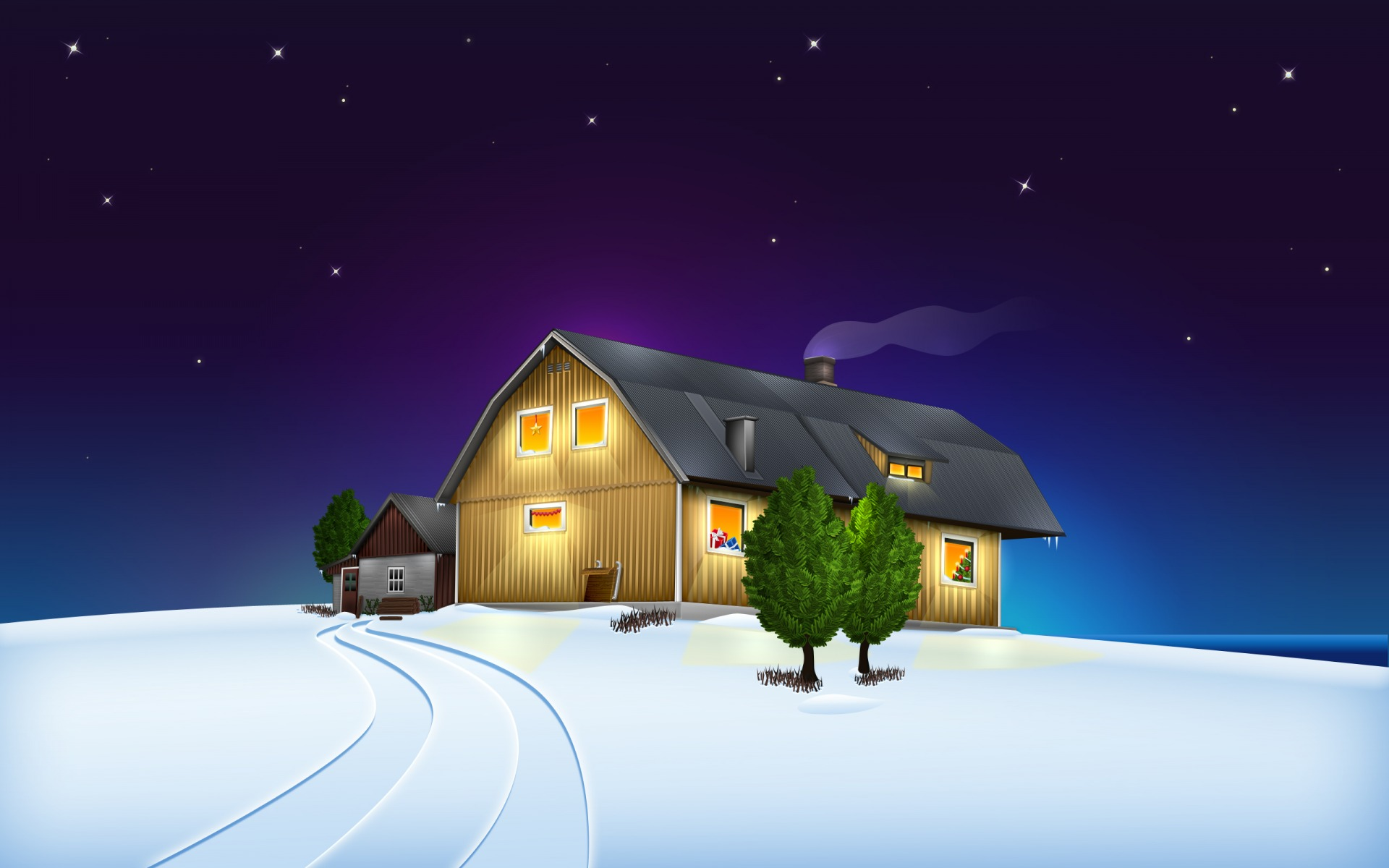 Christmas House Desktop Wallpapers WallpaperCowcom 1920x1200
