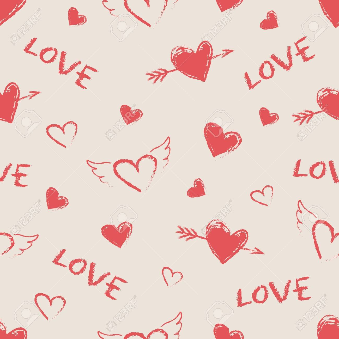 Happy Valentine Day Seamless Pattern Vector Cute Hand Drawn 1300x1300