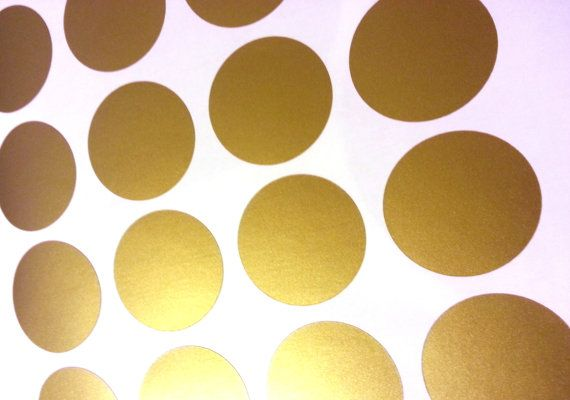Peel and Stick Metallic Gold Polka Dot Wall Decals Long Life Apar 570x400