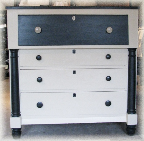 Grey and White Empire Dresser Chalk paint and anaglypta textured 504x494
