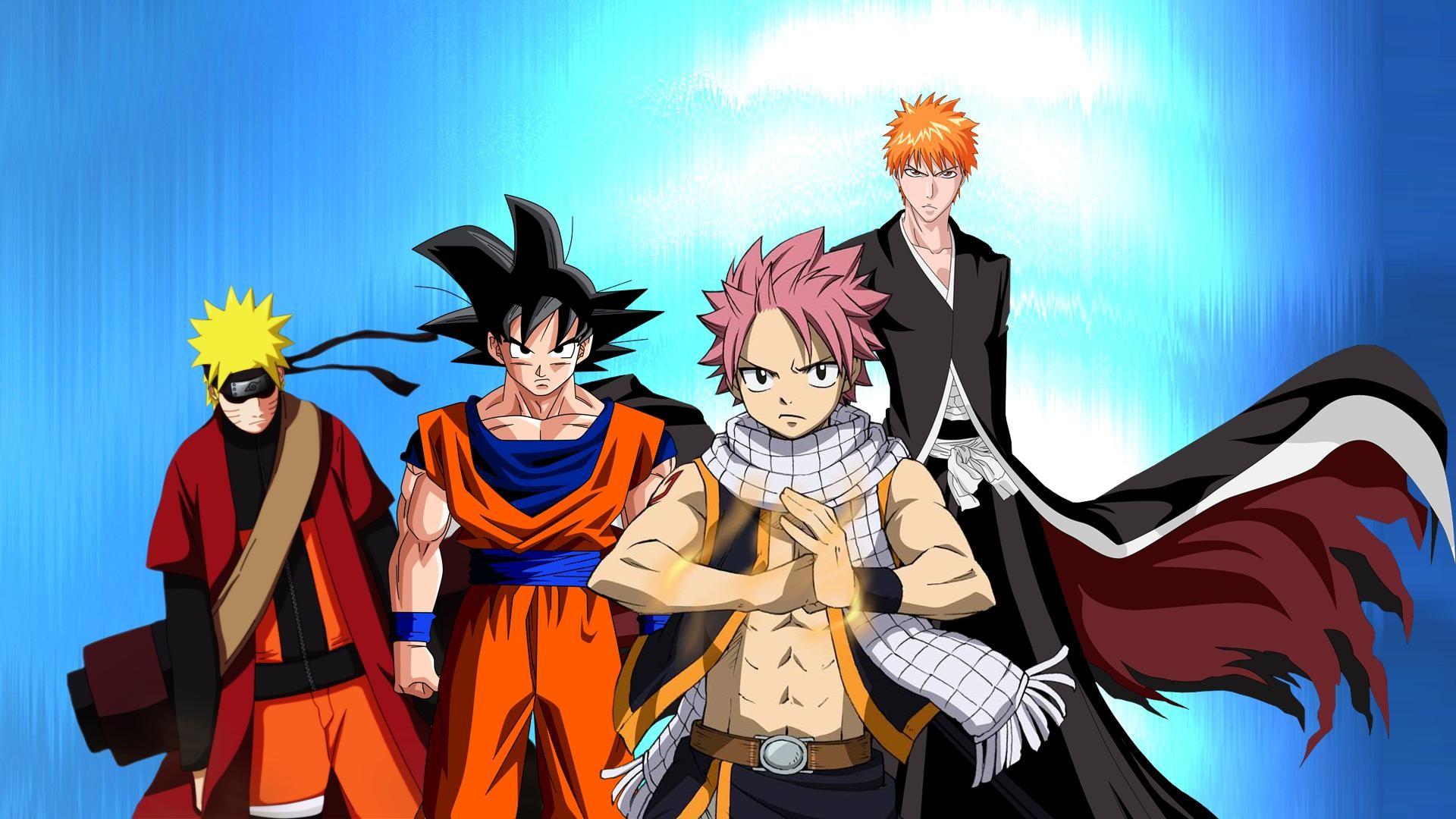 Goku Naruto Ichigo Natsu Cartoon HD Wallpaper   New HD 1920x1080