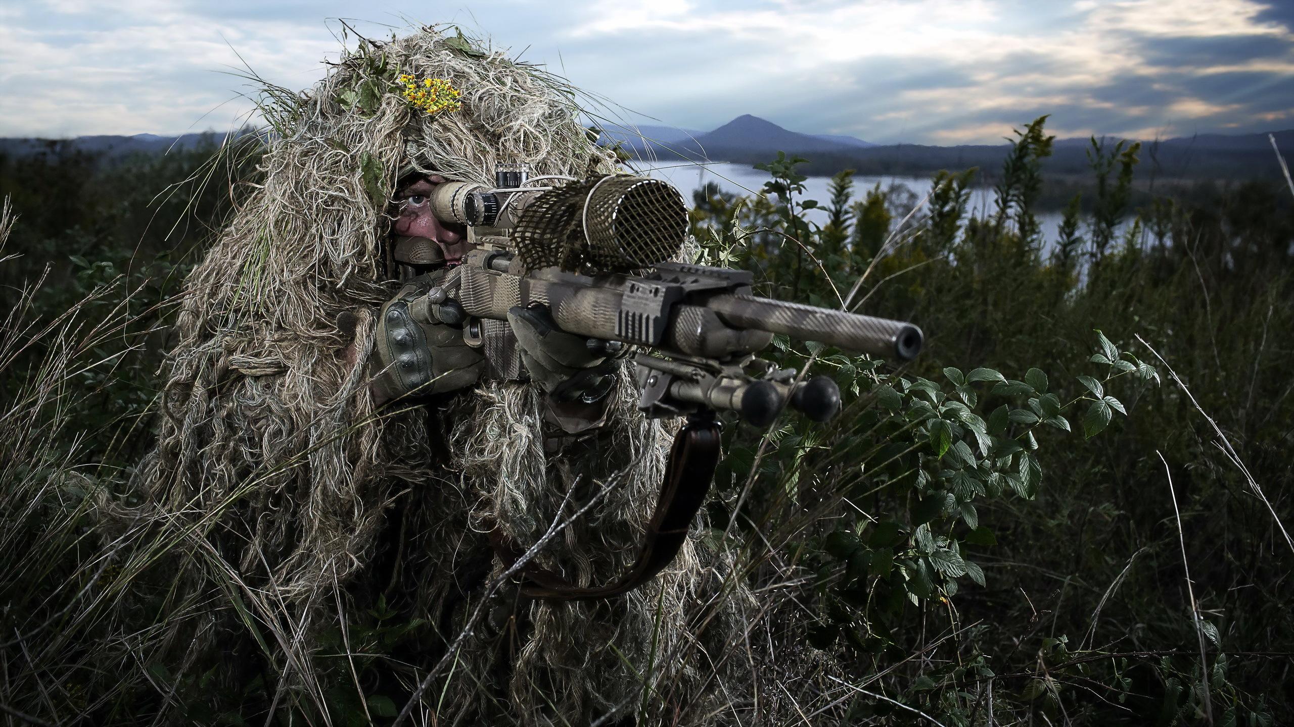 Sniper rifle soldier weapon gun military d wallpaper background 2560x1440