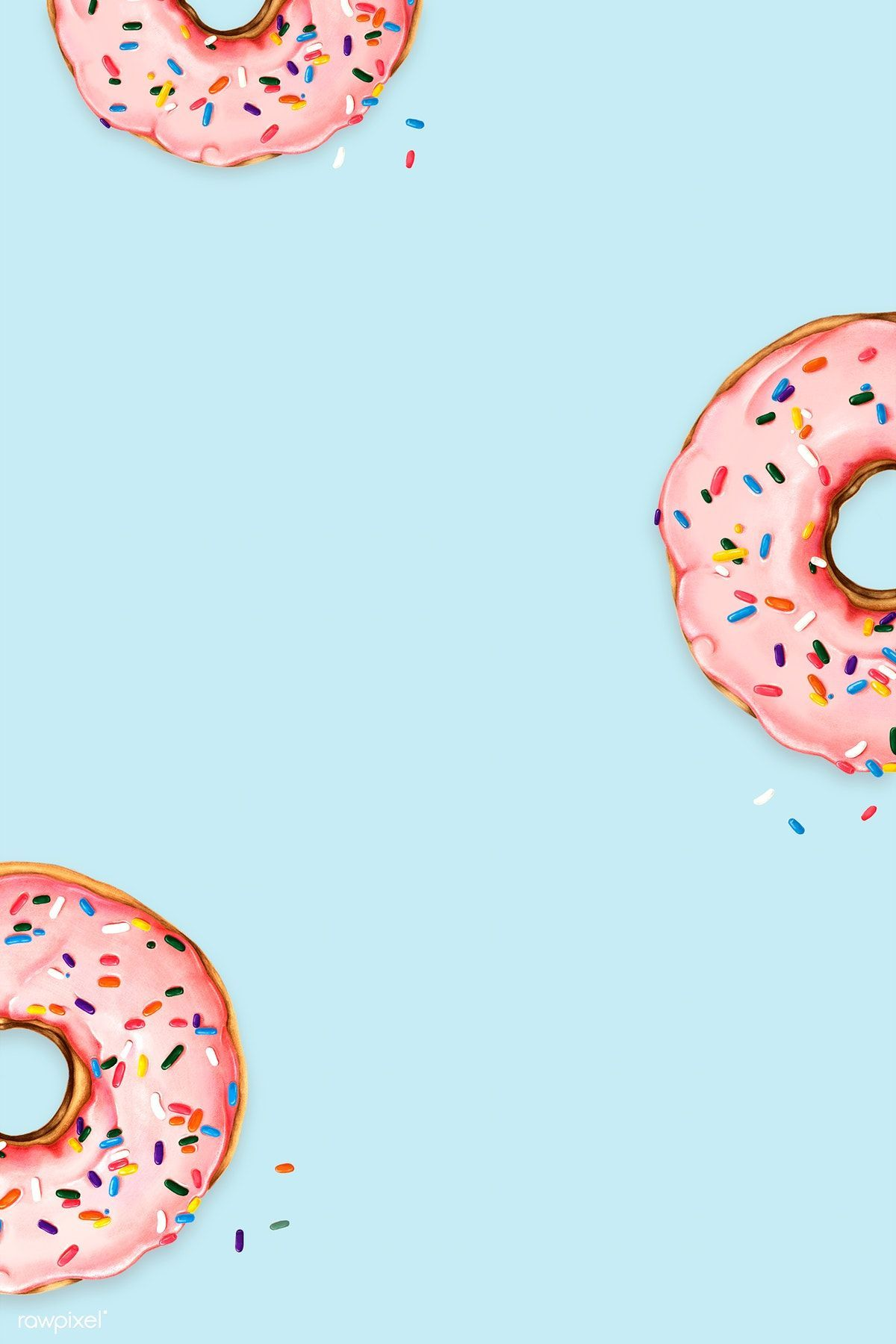 Download illustration of Hand drawn pink donuts on blue 1200x1800