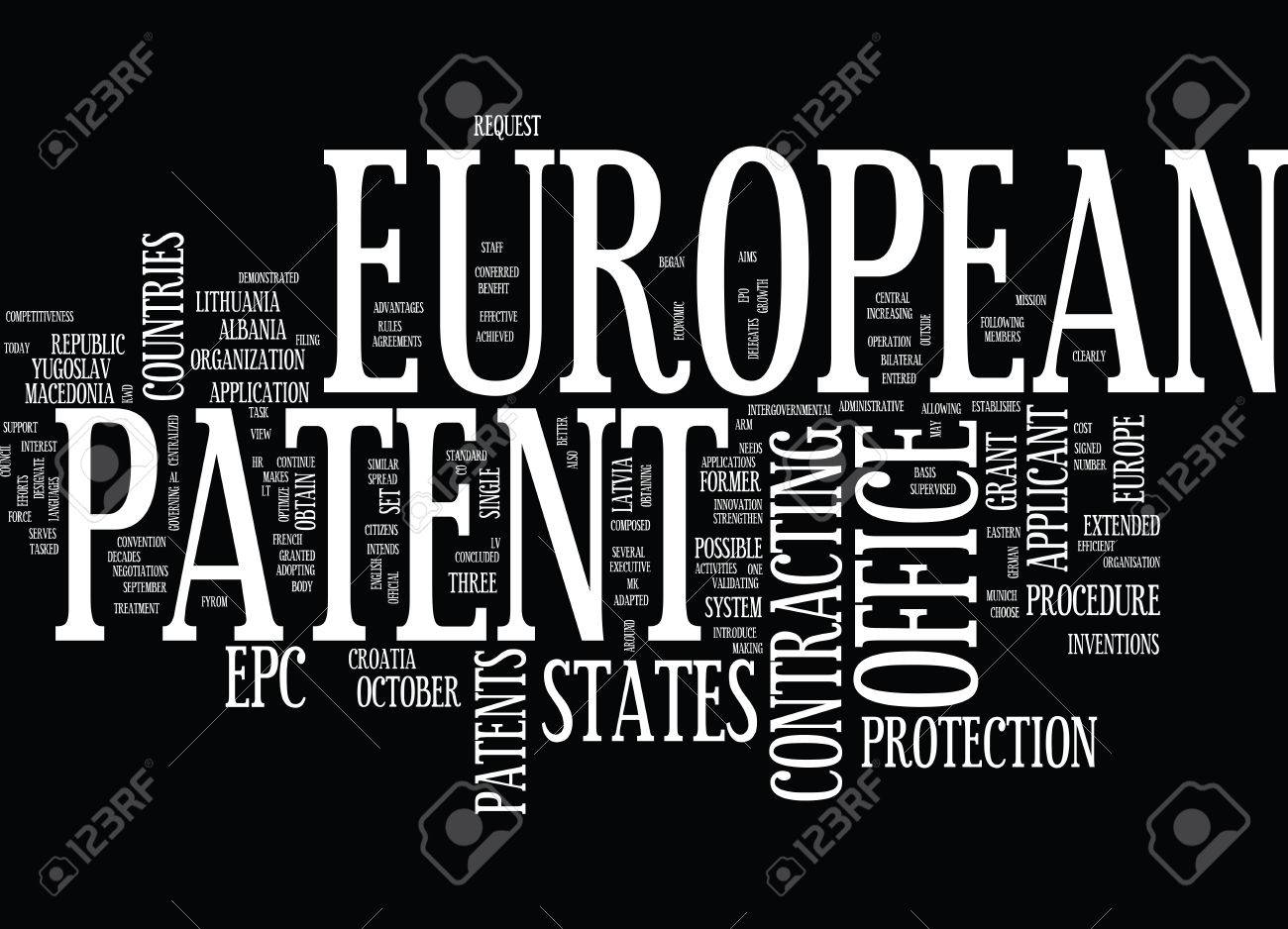 EUROPEAN PATENT OFFICE Text Background Word Cloud Concept Royalty 1300x938