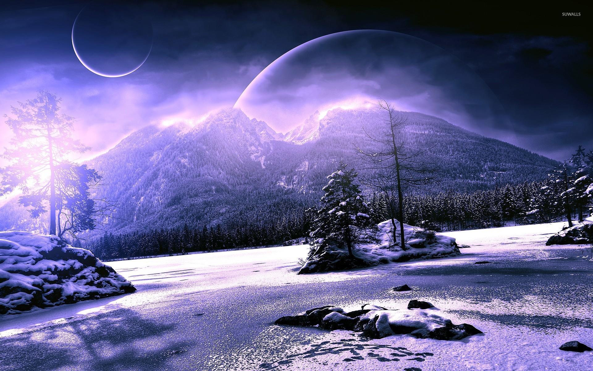 Winter scenery wallpaper wallpapersafari - Fantasy scenery wallpaper ...