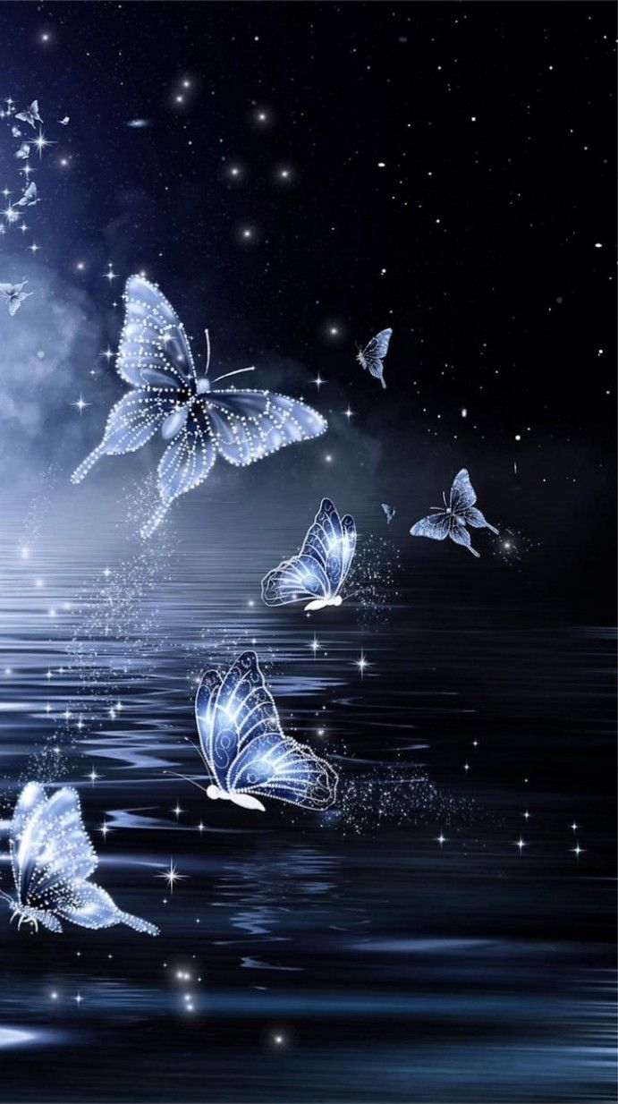 Midnight Butterfly Wallpaperby Unknown Artist whimsy in 2019 691x1234