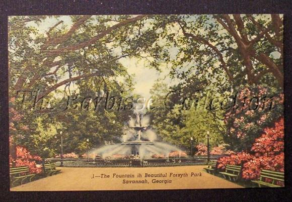fountain in forsyth park savannah ga georgia postcard 28466jpg 580x402