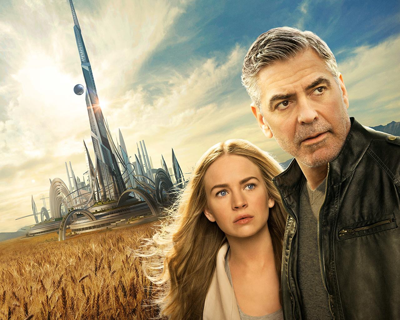 Photos George Clooney Blonde girl Men Tomorrowland Britt Robertson 1280x1024
