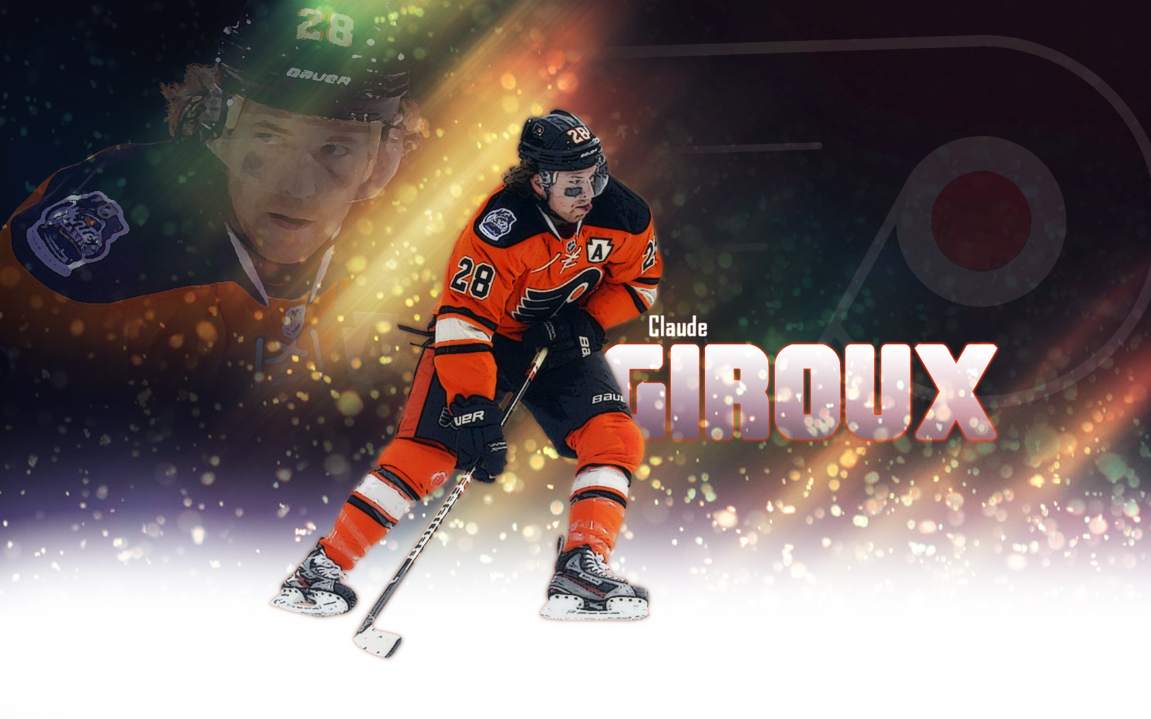 desktop wallpaper featuring Philadelphia Flyers captain Claude 1680x1050