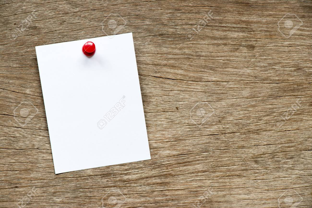White Paper Pin On Brown Wood Background For Memo Notice Or 1300x866
