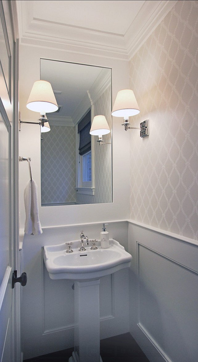 Powder Room. Beautiful Powder Room With Wallpaper. Wallpaper Is . Part 95