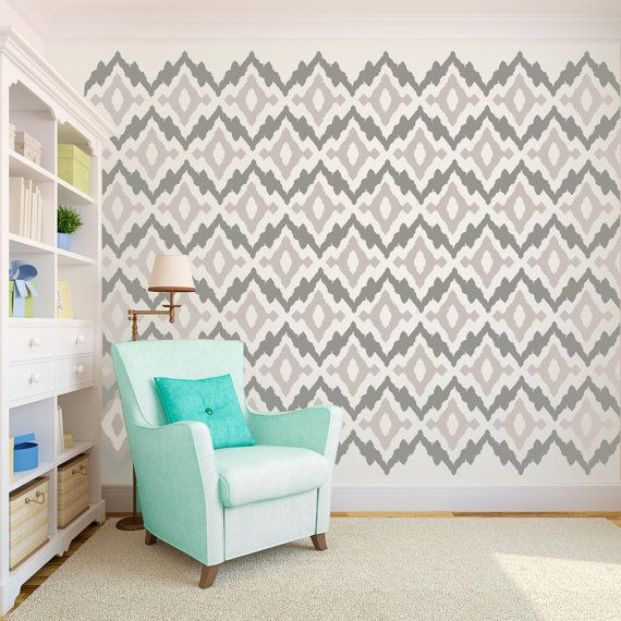 Ikat Tribal Geometric Pattern Wallpaper Size Wall by danadecals 110 570x570