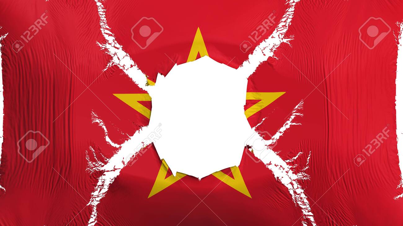 Soviet Union Flag With A Hole White Background 3d Rendering 1300x731
