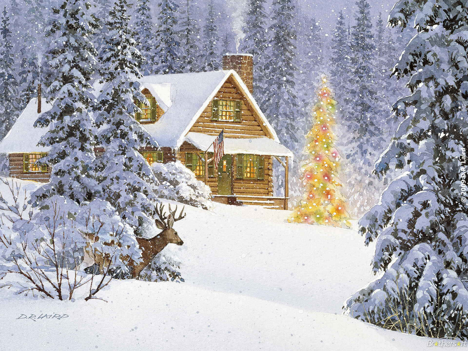 Log cabin in the woods painting - Jpeg 1920x1440 Log Cabin Xmas Backgrounds