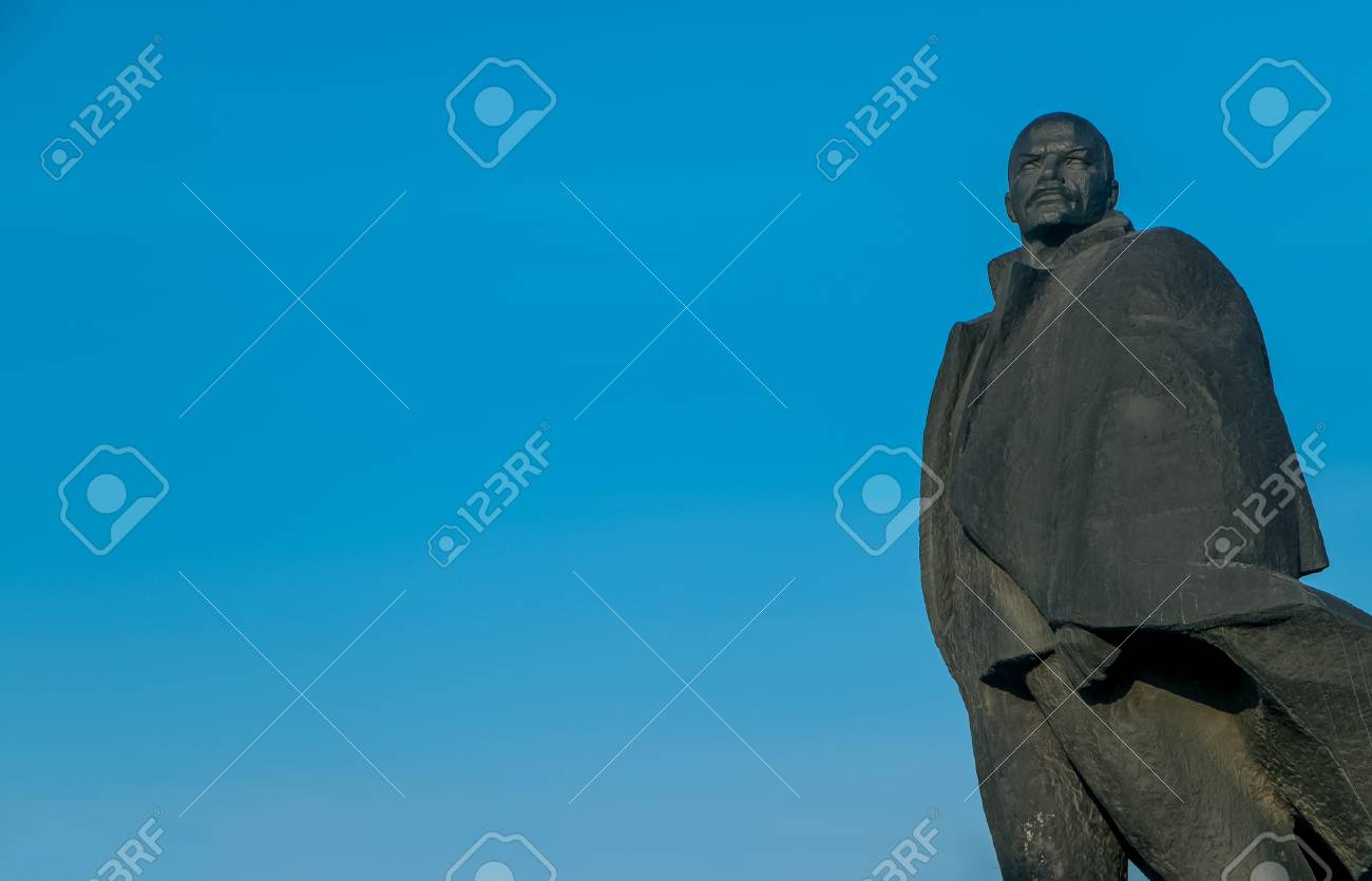 Monument Of Lenin On A Background Of Blue Sky In Novosibirsk Stock 1300x835