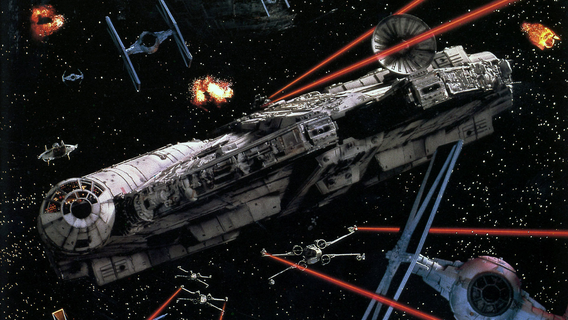 great wallpaper showing the battle between the millennium falcon 1920x1080
