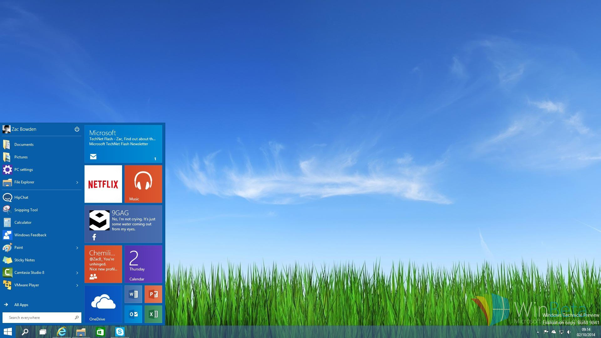 Show us your new Windows 10 Technical Preview Start Menu and desktop 1920x1080