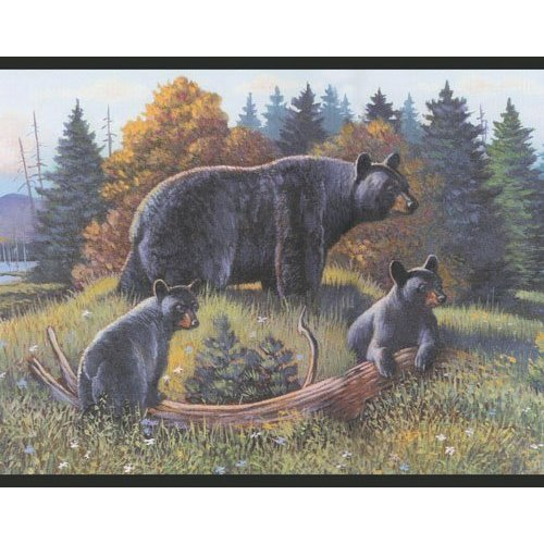 Black Bear and Cubs Lodge Wallpaper Border Log Cabin 500x500