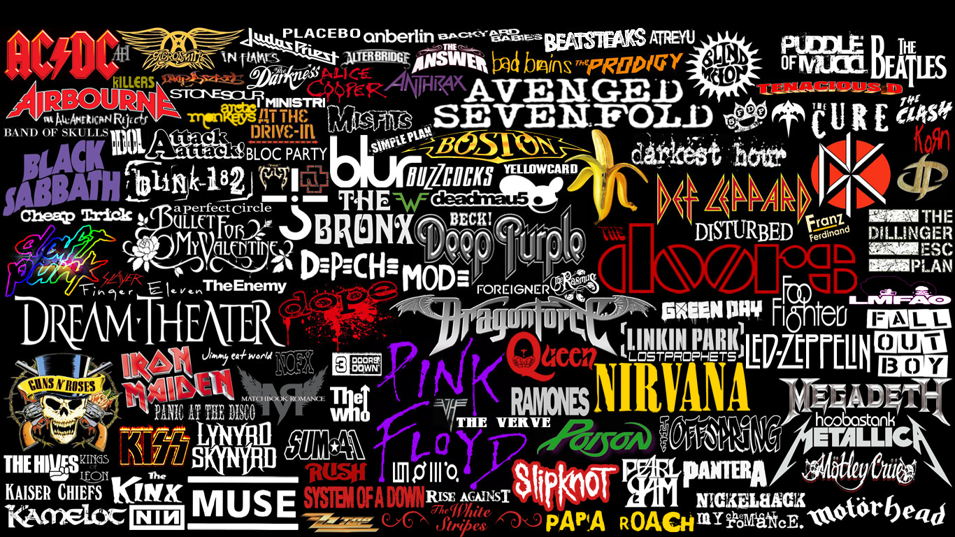 kinda rock bands logos collage by superbrogio customization wallpaper 1366x768