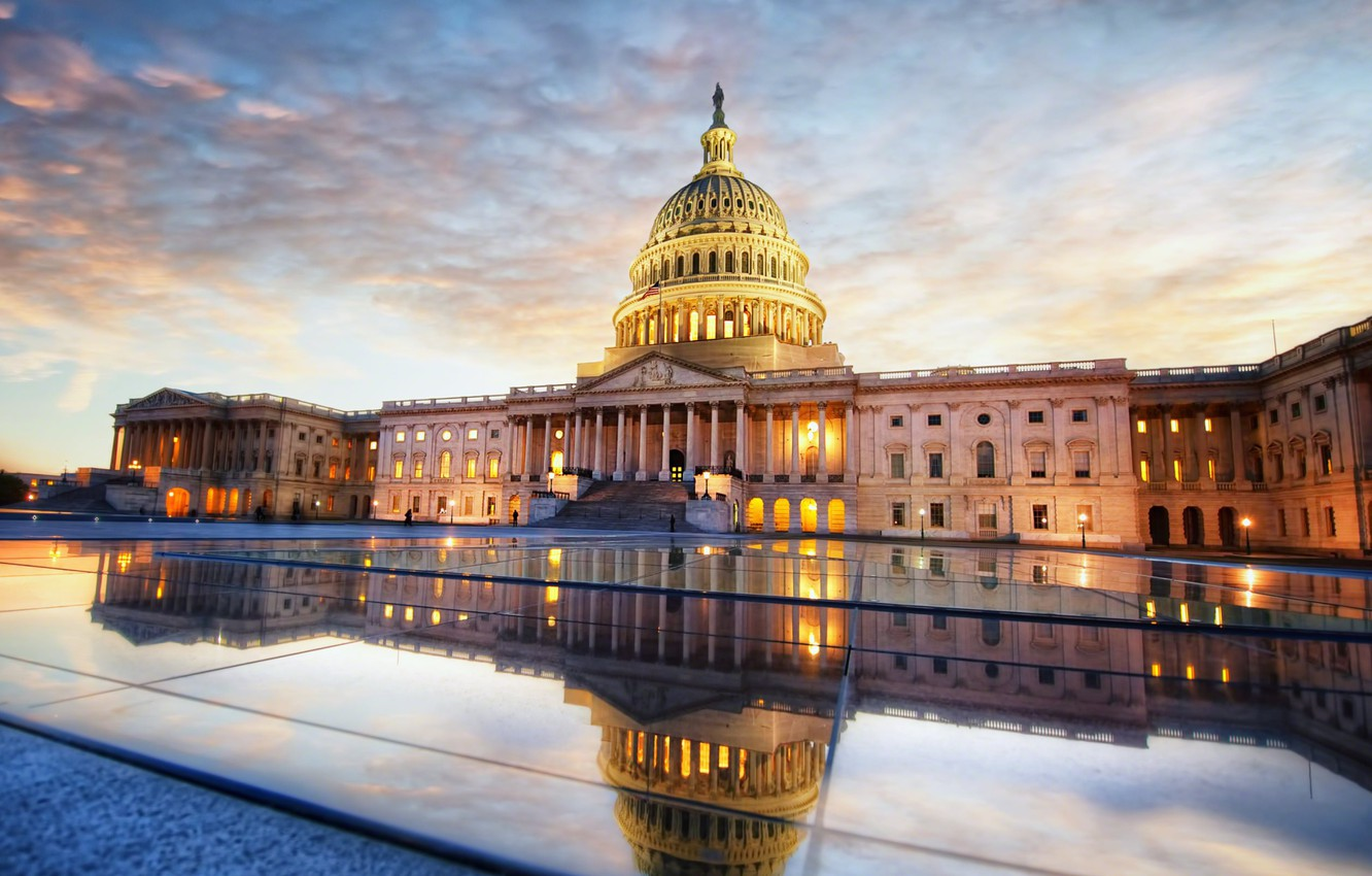 Wallpaper the sky clouds sunset Washington USA Capitol the 1332x850