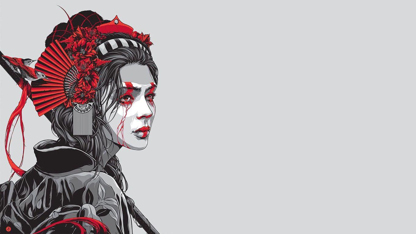Geisha warrior wallpaper 28352 1366x768