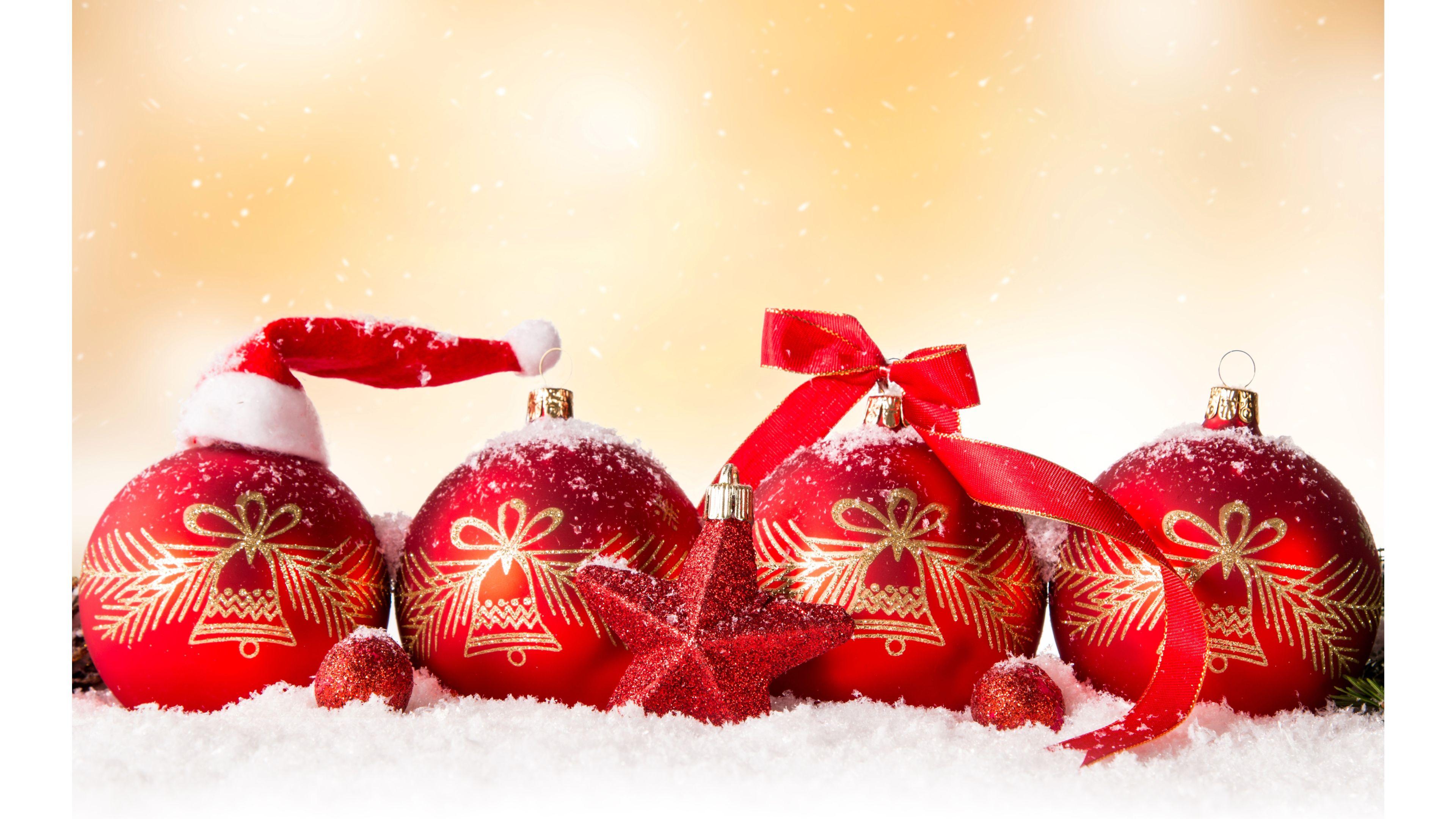 Red Ornament Merry Christmas 4K wallpaper 3840x2160