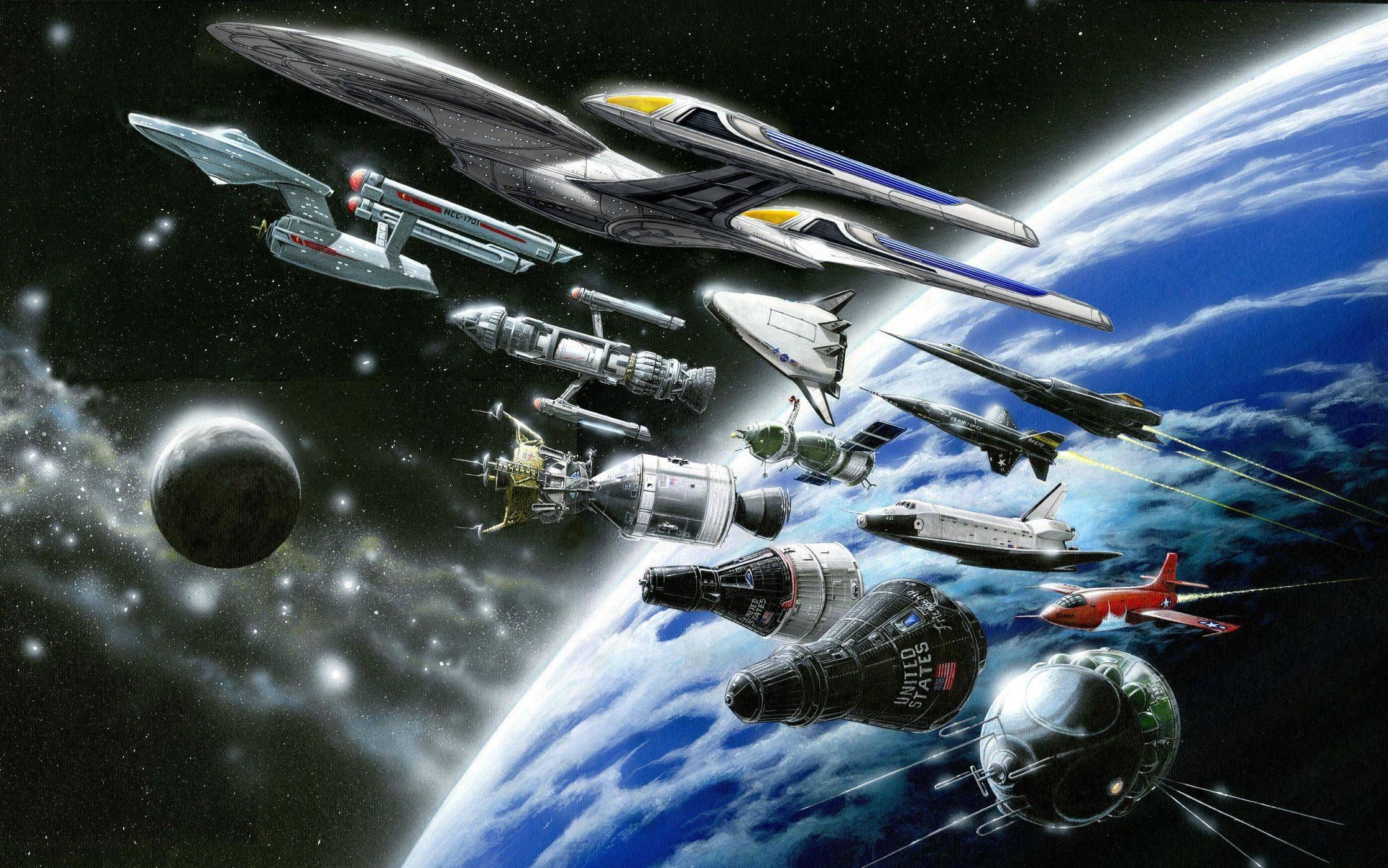 Star Trek Starship Enterprise Spaceship NASA Shuttle Drawing Stars 2233x1396