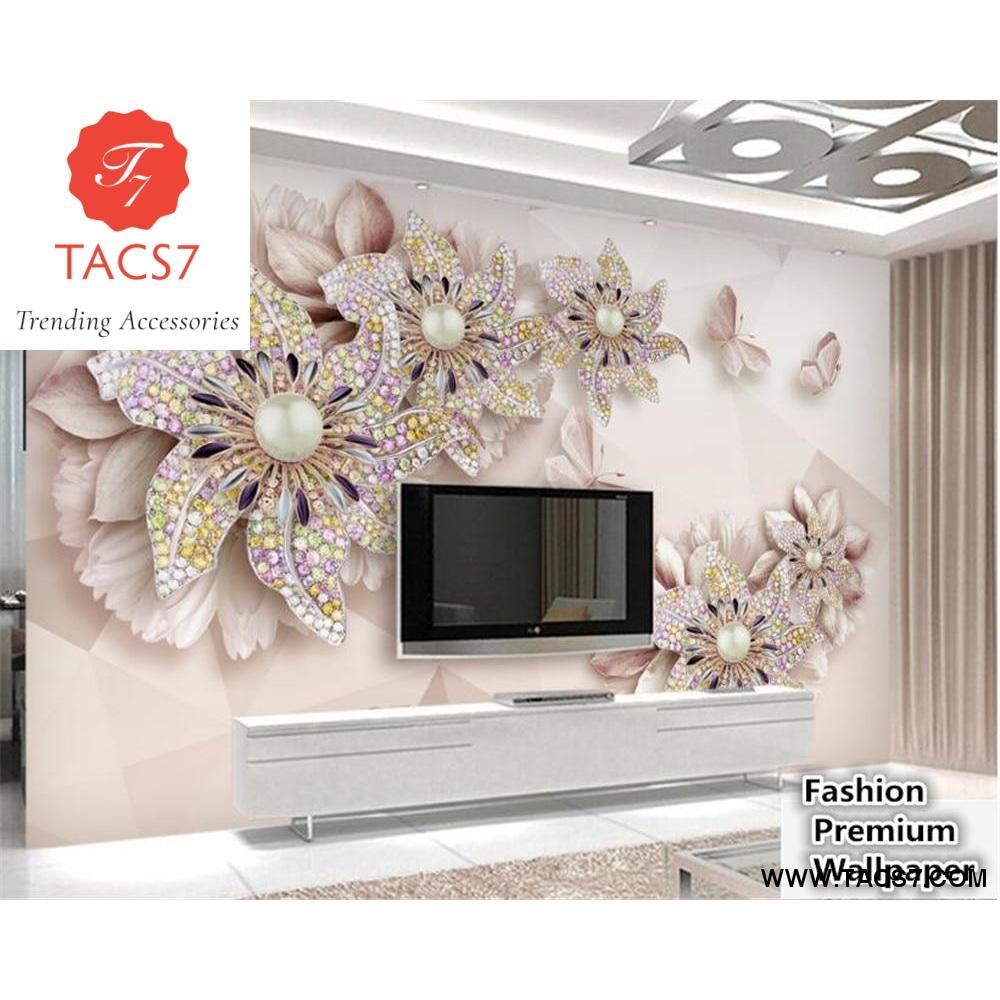 3d wallpaper beautiful luxury embossed jewelry flowers TV backdrop 1000x1000
