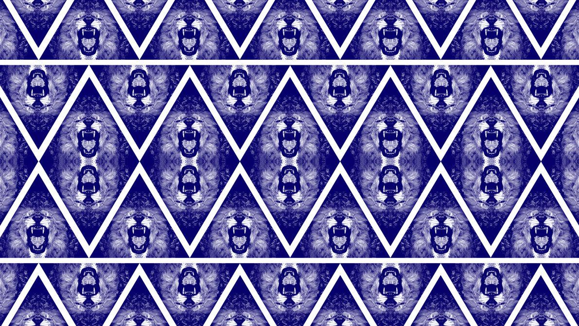 Blue Lion Triangle Bandana Pattern Wallpaper by cugini 1191x670