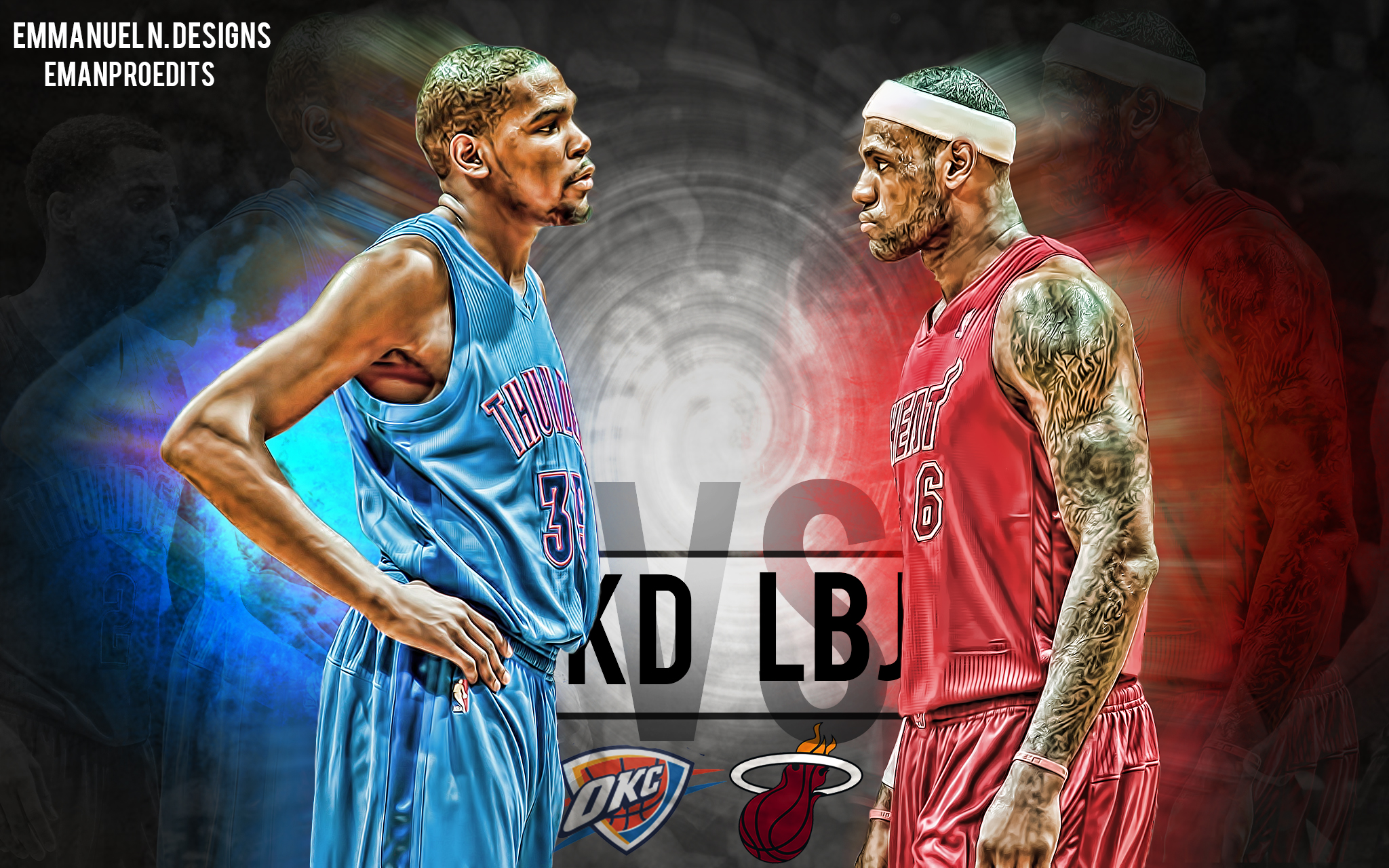 Kevin Durant vs Lebron James Wallpaper by emanproedits 2048x1280