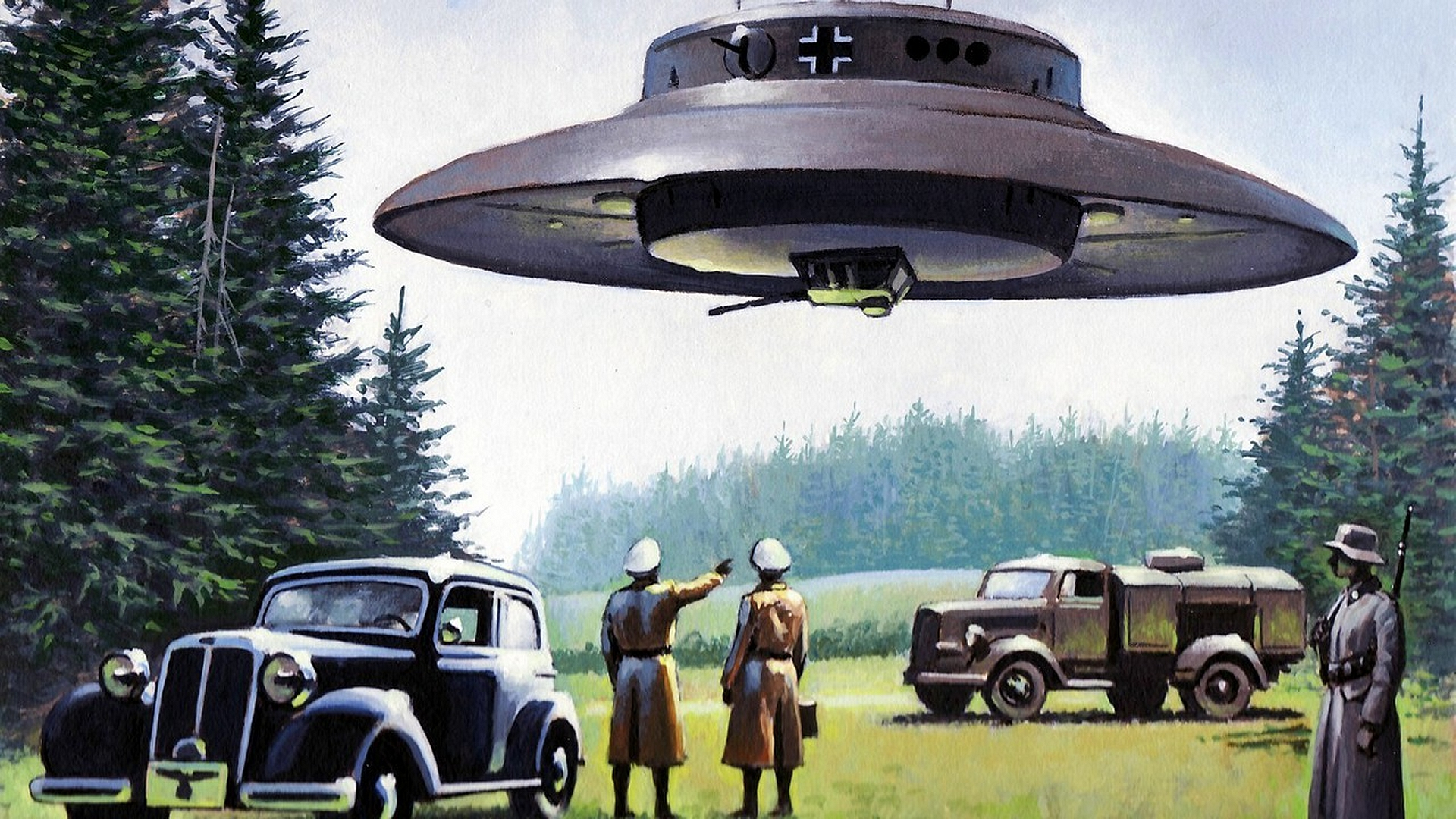 nazi UFO German flying saucer Wallpapers 1920x1080