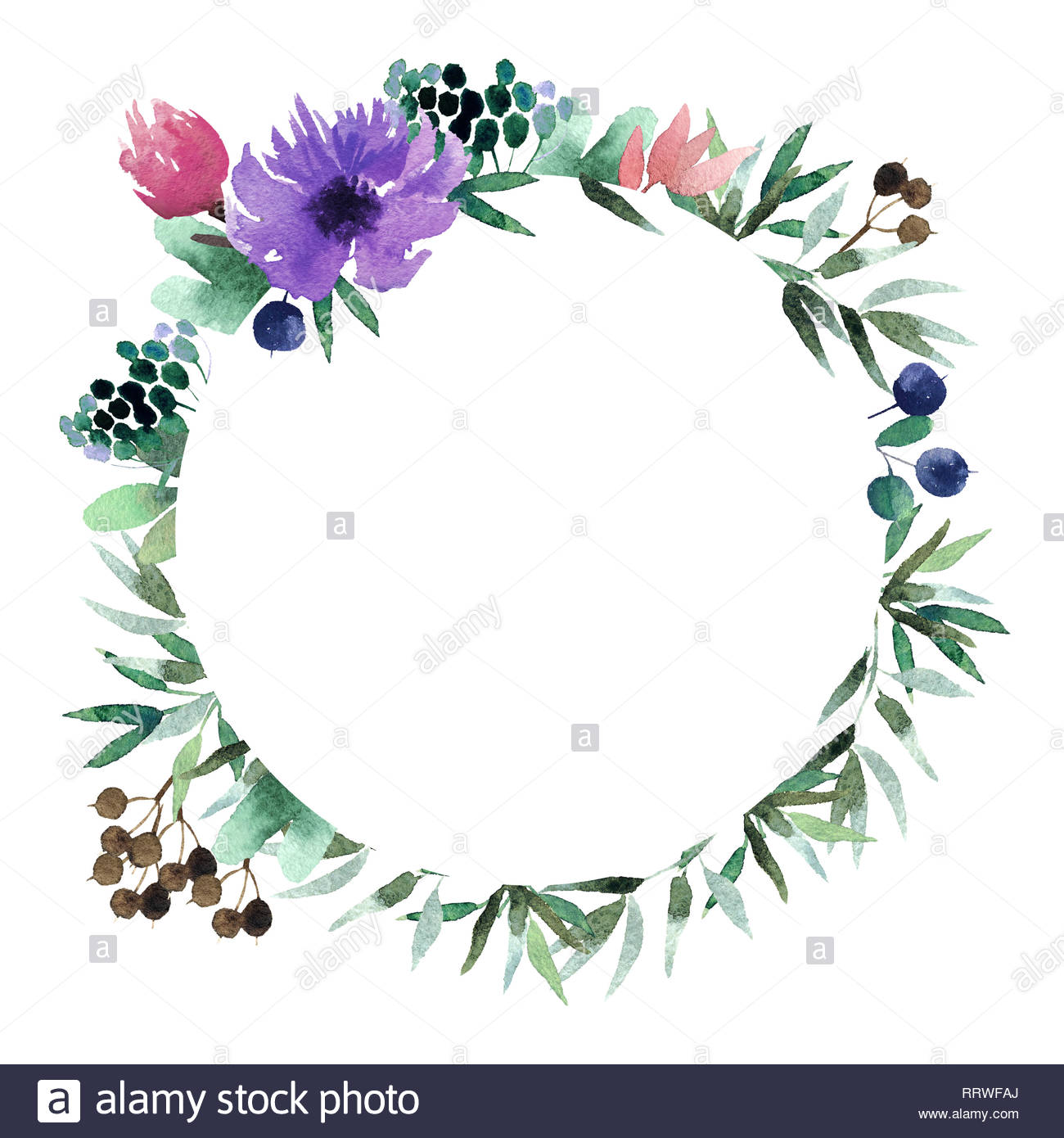 Beautiful watercolor wreath isolated on white background Round 1300x1390