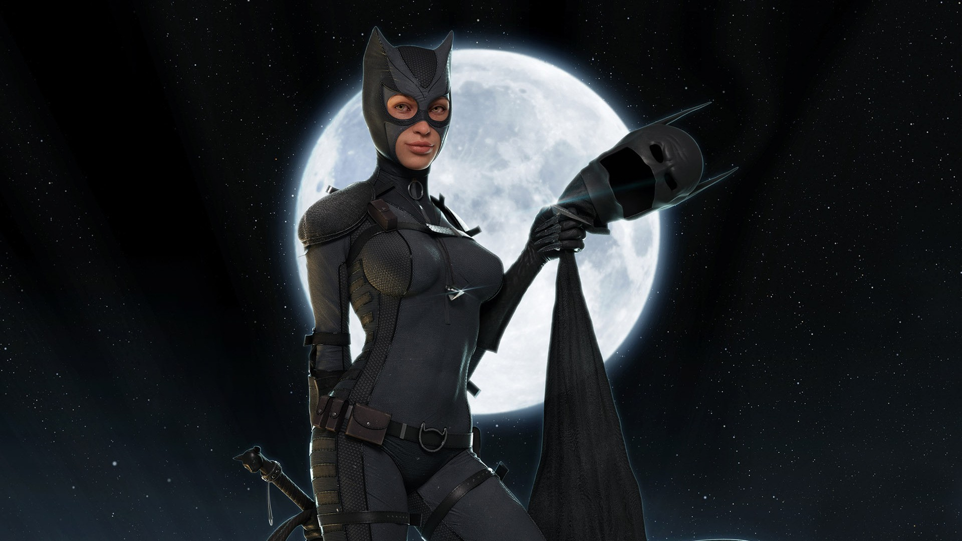 Catwoman batman black catwoman fantasy moon night selina kyle 1920x1080