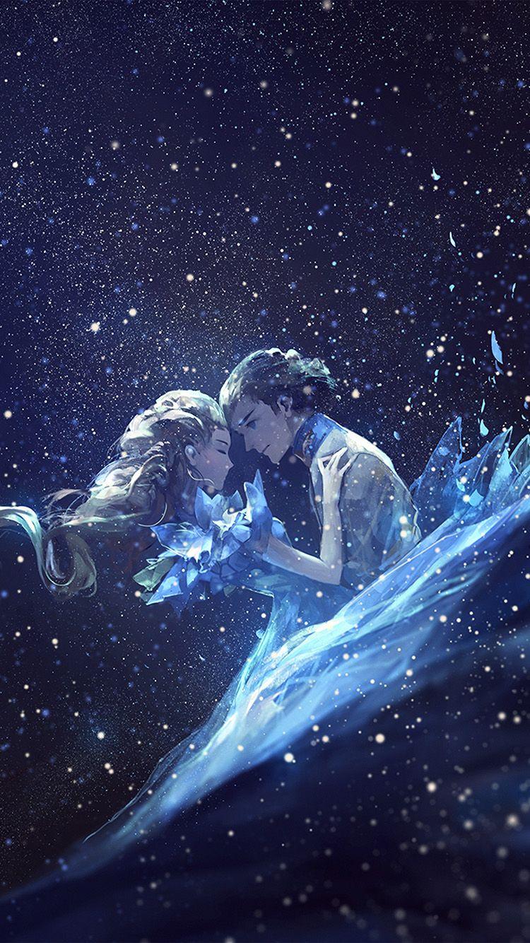 ANIME KISS LOVE BLUE GIRL BOY ILLUSTRATION ART WALLPAPER HD IPHONE 750x1334