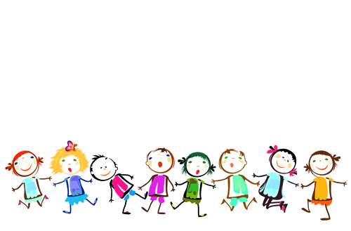 Cute Powerpoint Background For Kids children holding hands vector 500x329